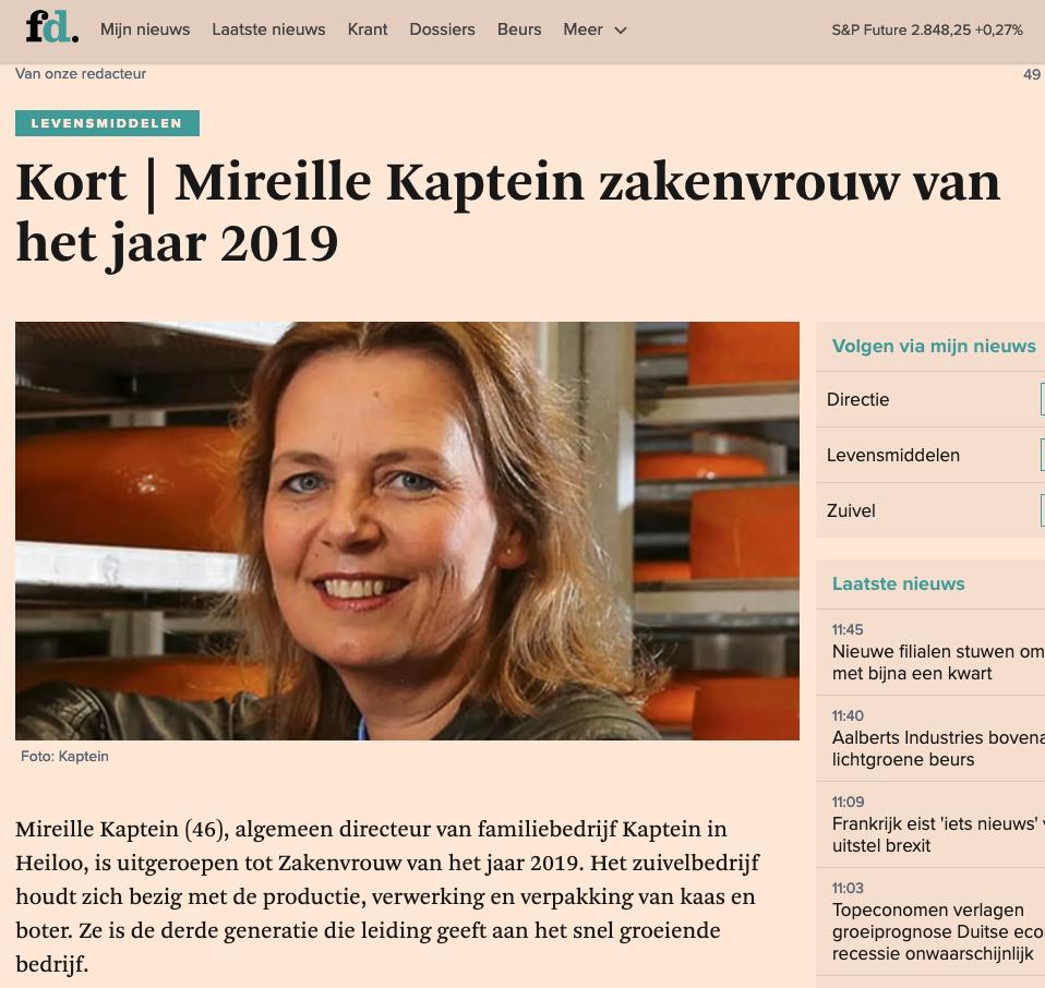 FD: Mireille Kaptein Zakenvrouw Van Het Jaar 2019