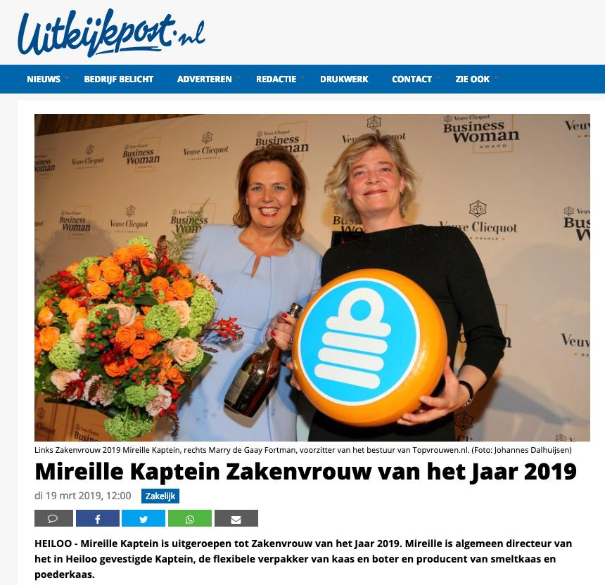 Uitkijkpost.nl: Mireille Kaptein Zakenvrouw Van Het Jaar 2019