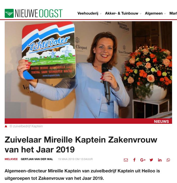Zuivelaar Mireille Kaptein Zakenvrouw Van Het Jaar 2019